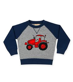 Navy & Grey Contrast Children's Sweatshirt 'TRACTOR' (DESIGN 2) IMAGE ONLY.