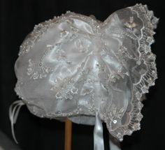 Embroidered Beaded Heirloom Satin Christening Bonnet