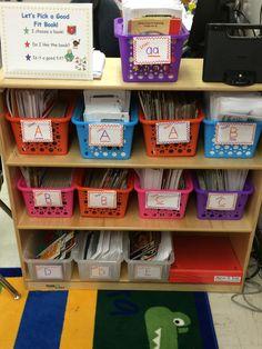 Daily 5 leveled reader bins. Organized by level. Kindergarten friendly sign