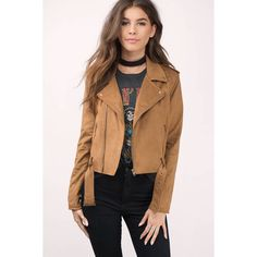 Tobi Ride On Faux Suede Moto Jacket (€105) ❤ liked on Polyvore featuring outerwear, jackets, camel, moto jacket, biker jacket, rider jacket, motorcycle jacket and camel moto jacket