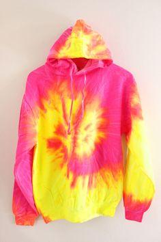 Tropical Neon Tie-Dye Hoodie