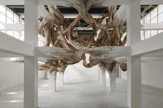 Henrique Oliveira – Baitogogo  Sous la forme d'une sculpture spectaculaire et envahissante, Henrique Oliveira joue avec l'architecture du Palais de Tokyo pour en faire surgir une œuvre organique.