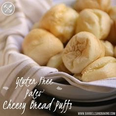 Gluten Free Cheesy Bread Puffs with Paleo Option! Seriously... these are the most amazing puffs of goodness ever and it only takes 5 minutes to mix the ingredients together! Perfect appetizer or side. www.barbellsandbaking.com