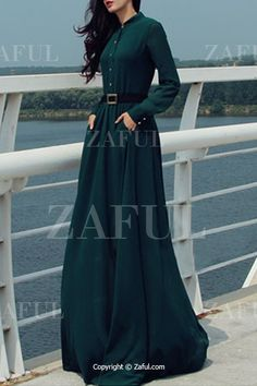 Solid Color Single-Breasted Long Sleeve Dress GREEN: Maxi Dresses | ZAFUL