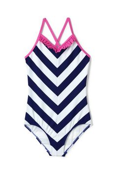 0033b05a77c37 Girls Ruffle V-neck One Piece Swimsuit from Lands' End Swimsuits, Bikinis,