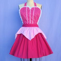 retro apron AURORA Sleeping Beauty  inspired retro APRON womens full costume aprons in pretty pink polka dots