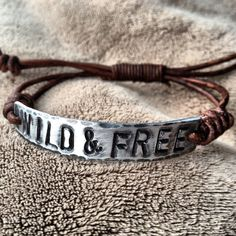 WILD and FREE ID Bracelet silver leather Hand by DESIGNbyANCE, $19.00
