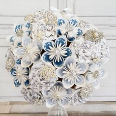 Paper Flower wedding bouquet origami kusudama rose vintage paper lace brooches Wedgwood blue cornflower baby sky ivory sheet music classic