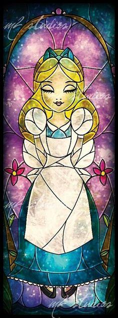 Alice in Wonderland / karen cox. *ALICE ~ Alice in Wonderland stained glass, 1951 Disney Pixar, Arte Disney, Disney And Dreamworks, Disney Magic, Disney Art, Disney Characters, Disney Stained Glass, Stained Glass Art, Disney Girls