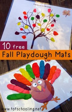 Playdough on the trees/turkey (printable playdough mats http://www.totschooling.net/2014/09/fall-playdough-mats-activities.html)