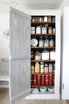 Wishing for a pantry cabinet like this one or any one for that matter.  So tried of pantry items all over my kitchen.