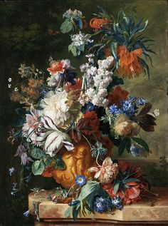 Jan van Huysum 1722 'Vase of Flowers' Oil on panel by Plum leaves, via Flickr