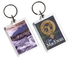 MacEwan Clan Badge Tartan Family Name Acryllic Key Ring Set of 5 - For Everything Genealogy