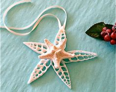 Beach Ornament Large Glittered Seashell by SeashellCollection