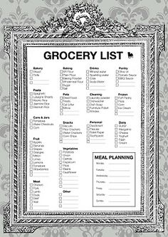 Printable Grocery Shopping List- Pretty Grocery List.