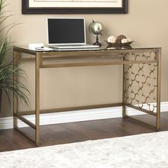 Shop for Quatrefoil Goldtone Metal and Glass Writing Desk. Get free shipping at Overstock.com - Your Online Furniture Outlet Store! Get…