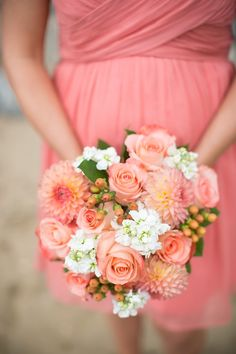 Love #Coral #Bouquets! Jen + Ashley Photography | See the wedding on SMP - http://www.StyleMePretty.com/virginia-weddings/2014/01/14/elegant-backyard-wedding-in-newport-news/