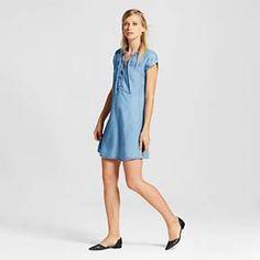 Women's Chambray Lightweight Denim Lace Up Shift Dress - 3Hearts (Juniors') : Target