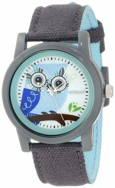 Sprout Women's ST/5512MPGY Grey Organic Cotton Strap Blue Owl Dial Watch: Watches