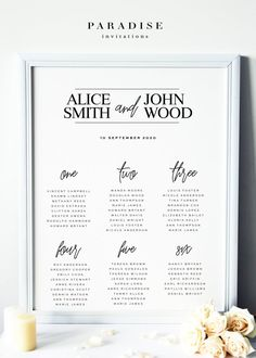 Modern Calligraphy Table Seating Chart  Table Seating Charts