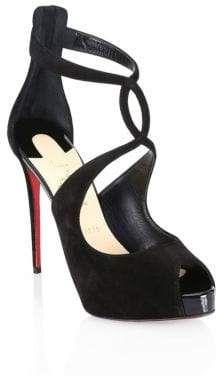 784b6da25d08 Statement cutout sandals on a sexy stiletto heel. Velvet upper. Peep toe.  Back zip closure. Ankle strap. Criss-cross front straps. Leather sole.
