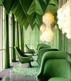 Verner Panton's 1969 interiors for the Spiegel Publishing house in Hamburg is one of his most unique interior works. Panton designed nearly everything inside, color schemes, lamps, textiles, and more. ~ETS