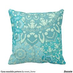 Cyan mandala pattern pillow  #Home #decor #Room #Interior #decorating #Idea #Styles #Traditional #Boho #Indian #Vintage #floral #motif