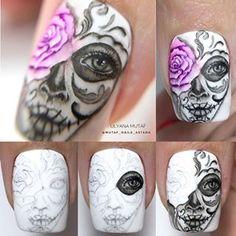 Sugar Skull Nails, Skull Nail Art, Toe Nail Art, Halloween Nail Designs, Halloween Nail Art, Disney Halloween, Halloween Party, Cute Nails, Pretty Nails