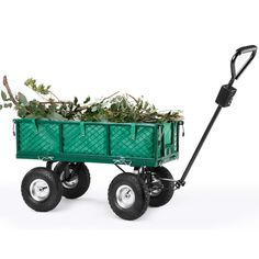 VonHaus All Terrain Heavy Duty Steel Garden Utility Cart - 770lbs Load Capacity, Folding Sides and 10-inch Off-Road Tires ** Unbelievable  item right here! : home diy yard