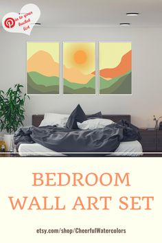 Stylish boho landscape to decorate the wall over the bed in your bedroom. Printable wall art. Designed by Cheerful Watercolors. #bohowallart #bohowalldecor #printablewallart #gallerywallbedroom #CheerfulWatercolors Black And White Interior, White Interior Design, Interior Ideas, Autumn Decorations, Dorm Decorations, Diy Wall Art, Modern Wall Art, Wall Ideas, Room Ideas
