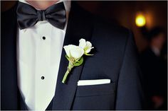 Classic Black Bow Tie and Ivory Boutonniere ~ Photo: Pink Posh Photography