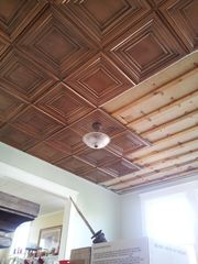 Mike's Ceiling After Installing DCT05 Decorative Ceiling Tiles in Antique Copper