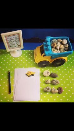 Phonics 2 - In this Dumptruck Phonics game, students will create words out of the stones. Then, the students will write the words on their truck paper. Phonics Reading, Teaching Phonics, Phonics Activities, Classroom Activities, Ks1 Classroom, Outdoor Classroom, Writing Area, Writing Skills, Writing Table