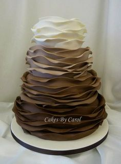 Brown Ruffle Ombre Cake by Cakes by Carol. oh my word, with chocolate cake inside! Gorgeous Cakes, Pretty Cakes, Cute Cakes, Amazing Cakes, Chocolates, Ombre Cake, Wedding Cake Designs, Wedding Cakes, Ruffle Cake