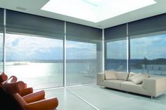 Explore our photo gallery to find inspiration for window covering solutions for every room. Browse our collection of blinds, shades, curtains and shutters. Drapes And Blinds, Shades Blinds, Window Coverings, Window Treatments, Modern Roller Blinds, Solar Screens, Woven Shades, Kitchen And Bath Remodeling, Solar Shades