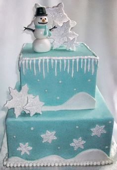 This Winter Wonderland Cake. without the cheesy snowman would be fantastic. Holiday Cakes, Christmas Cakes, Xmas Cakes, Christmas Treats, Cupcakes, Cupcake Cakes, Snowman Cake, Snowman Cookies, Winter Wonderland Cake