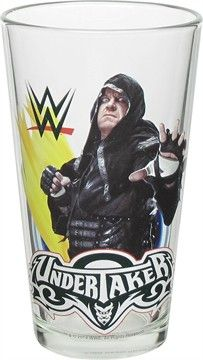 Keep The Streak alive with this cool WWE glass! The WWE Undertaker Pint Glass is a clear, 6-inch tall pint glass.