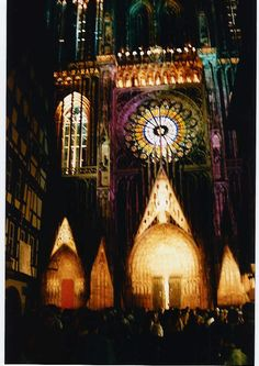 Strasbourg Cathedral by night ~ we were able to witness a great light show one night.