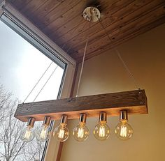 Led Pendant Lights, Pendant Light Fixtures, Rustic Lighting, Bar Lighting, Ceiling Canopy, Ceiling Lights, Wooden Chandelier, Wood Beams, Modern