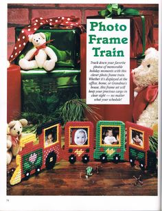 PHOTO FRAME TRAIN by MARYANNE MORECK 1/2 - FROM A FESTIVE CHRISTMAS IN PLASTIC CANVAS BOOK ELEVEN