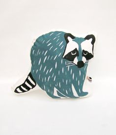 Steelblue Raccoon Cushion by normadot on Etsy