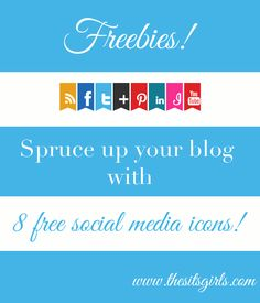 8 free social media icons for your blog. Perfect for summer!