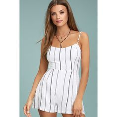 fcfa370f1b Ambrose Black and White Striped Romper ( 49) ❤ liked on Polyvore featuring  jumpsuits