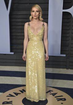 Emma Roberts Oscars, Emma Roberts Style, Nice Dresses, Formal Dresses, Vanity Fair Oscar Party, Red Carpet Looks, Red Carpet Dresses, Yellow Dress, Celebrity Style