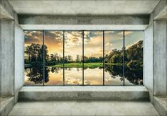 Fototapete Tapete Poster 168696FW Fensterausblick Landschaft,Landschaft Architek Windows, Gym, Poster, Pictures, Hallways, Woodland Forest, Wallpapers, Landscape, Bedroom