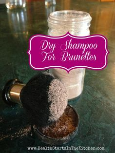 Dry Shampoo for Brunettes. 1/4 c cornstarch, 1/4 c cocoa powder.-used dark cocoa.  Love this!  2nd favorite pin behind the jewelry cleaner.