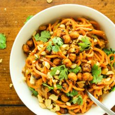 This recipe for Thai peanut sweet potato noodles is irresistible AND healthy. The creamy, savory sauce is so simple to make!