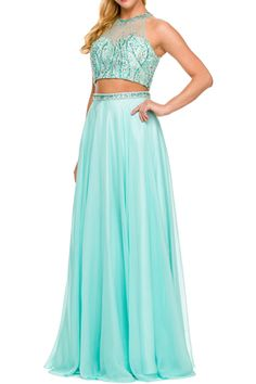 Long Prom Dress JT601 Two Parts Set, Full Length Prom and Evening Dress has Ilusion Neckline, Jewels and Beading Embellished Copped Top, Illusion Back with Keyhole Detail and Zipper Closure, Long A-Line Layered Skirt with Beaded Waist. https://www.smcfashion.com/wholesale-prom-dresses/long-prom-dress-jt601
