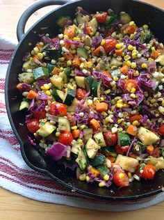 Skillet Corn, Zucchini, and Tomatoes with Basil Oil - The Maker Makes