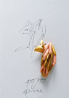 Brosche 'porc U pine', Gold, Koralle; Manfred Bischoff, Courtesy Schmuckmuseum Pforzheim / Marijke Studio, Padua